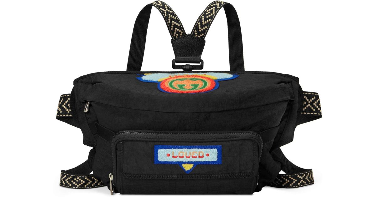 678bd1294c95 Gucci Belt Bag With '80s Patch in Black - Lyst