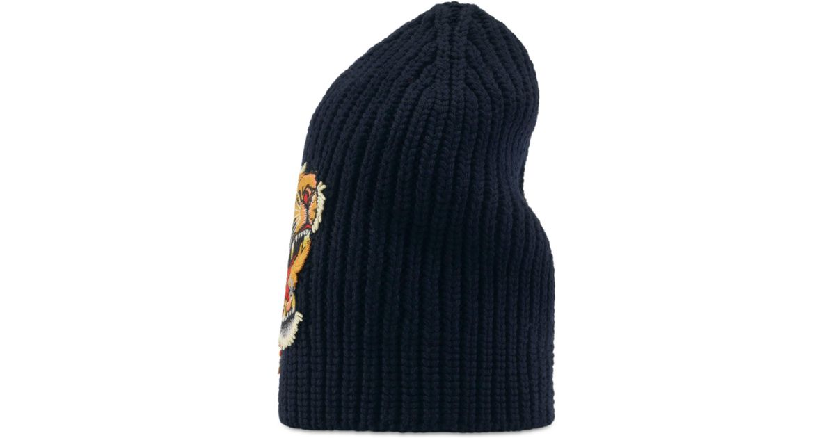 eec69003d98 Gucci Wool Hat With Tiger in Blue for Men - Lyst