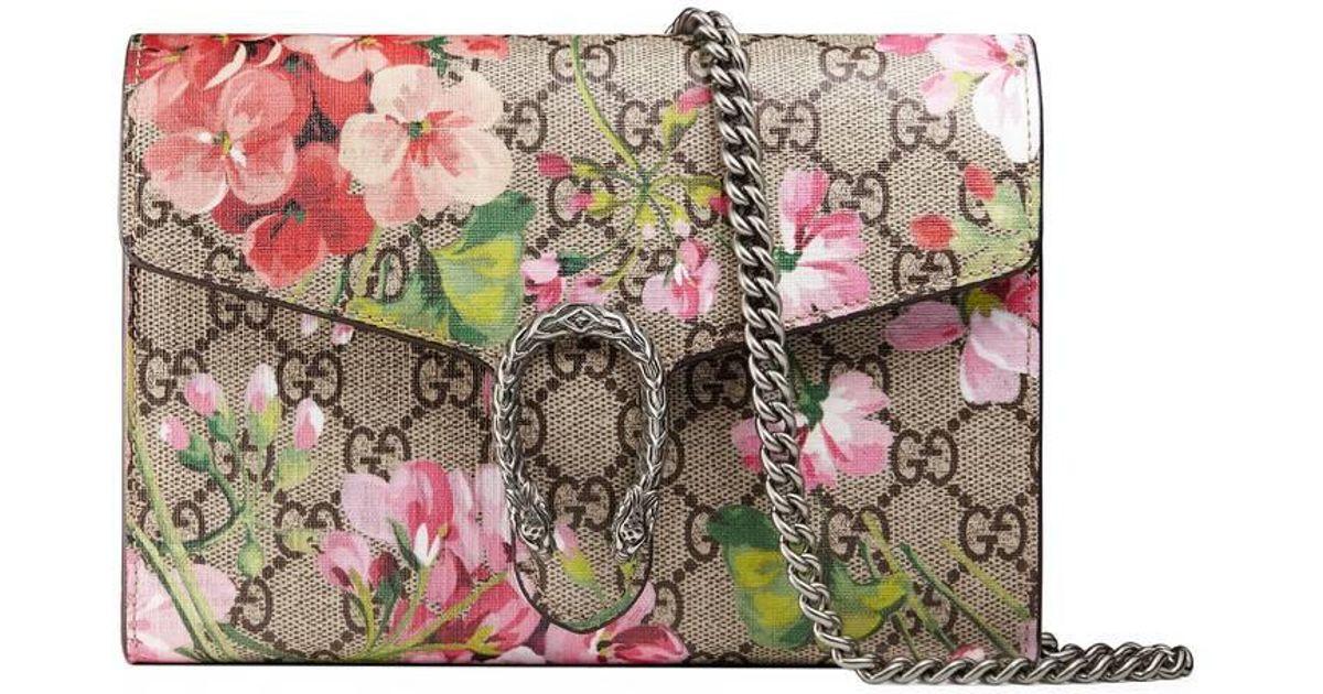 f5eb12c377ff00 Gucci Dionysus Blooms Print Mini Chain Bag in Pink - Lyst