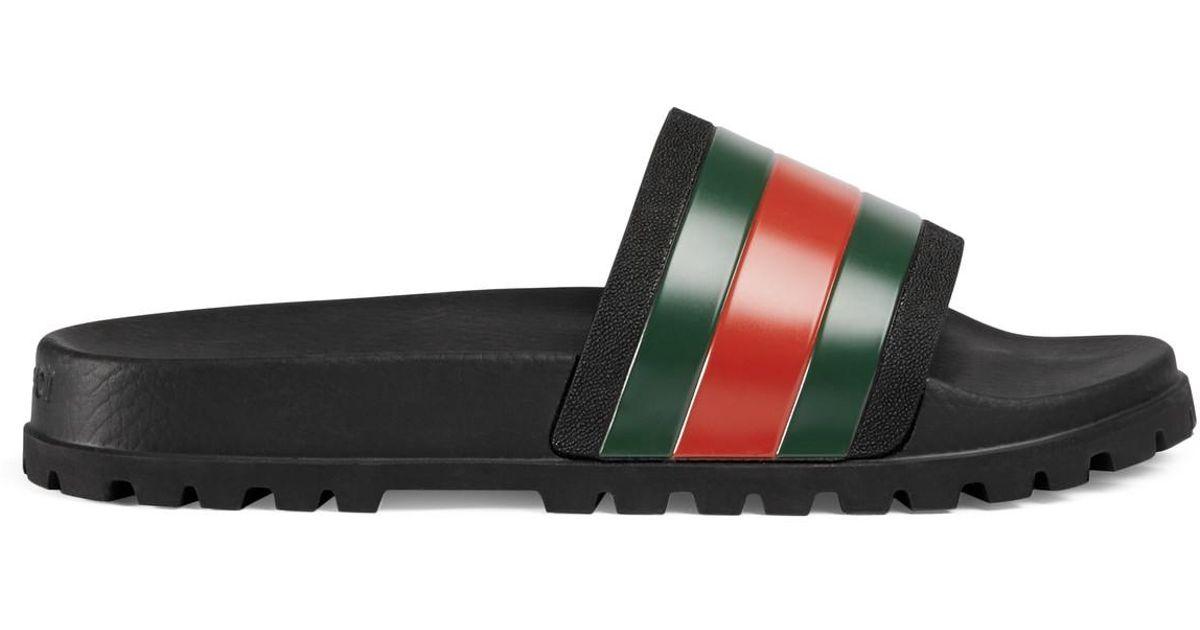 2aba0b89bf4 Lyst - Gucci Web Slide Sandal for Men
