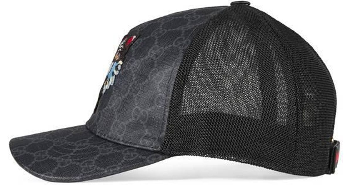 Lyst - Gucci Gg Supreme Baseball Hat With Angry Cat in Black for Men 51e429f4079