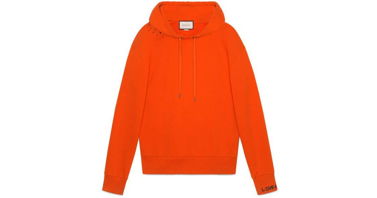 9a17369825a Lyst - Gucci Cotton Sweatshirt With Embroidery in Orange for Men