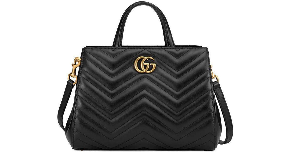 83de18943 Gucci GG Marmont Matelassé Leather Top Handle Bag in Black - Lyst