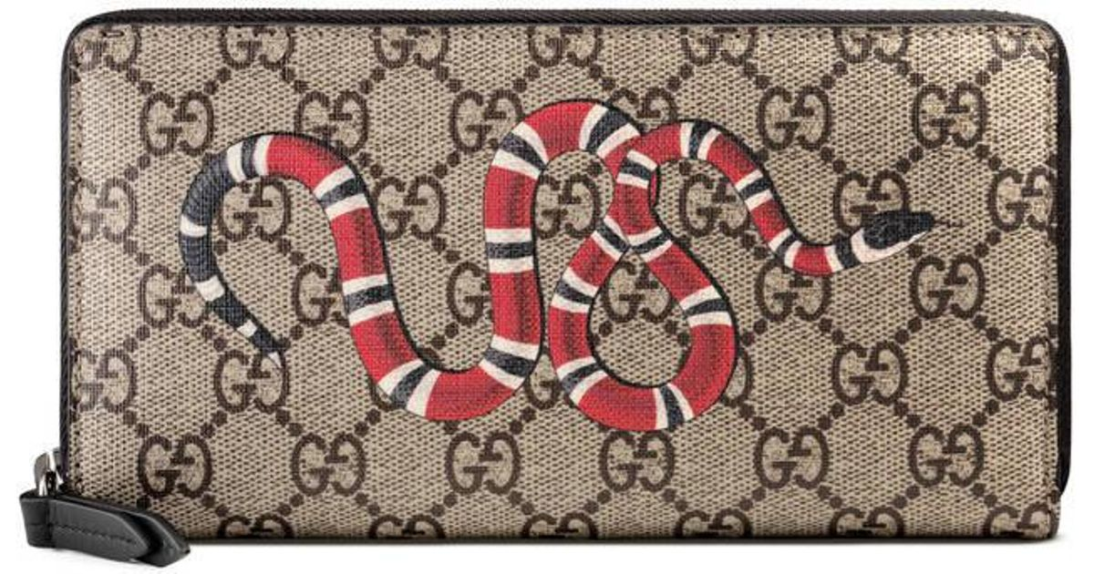 8bd77a5eee16 Gucci Kingsnake Print Gg Supreme Zip Around Wallet - Lyst
