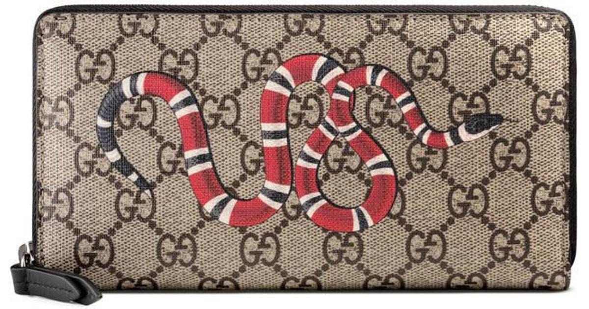 55feda879f145e Gucci Kingsnake Print Gg Supreme Zip Around Wallet - Lyst