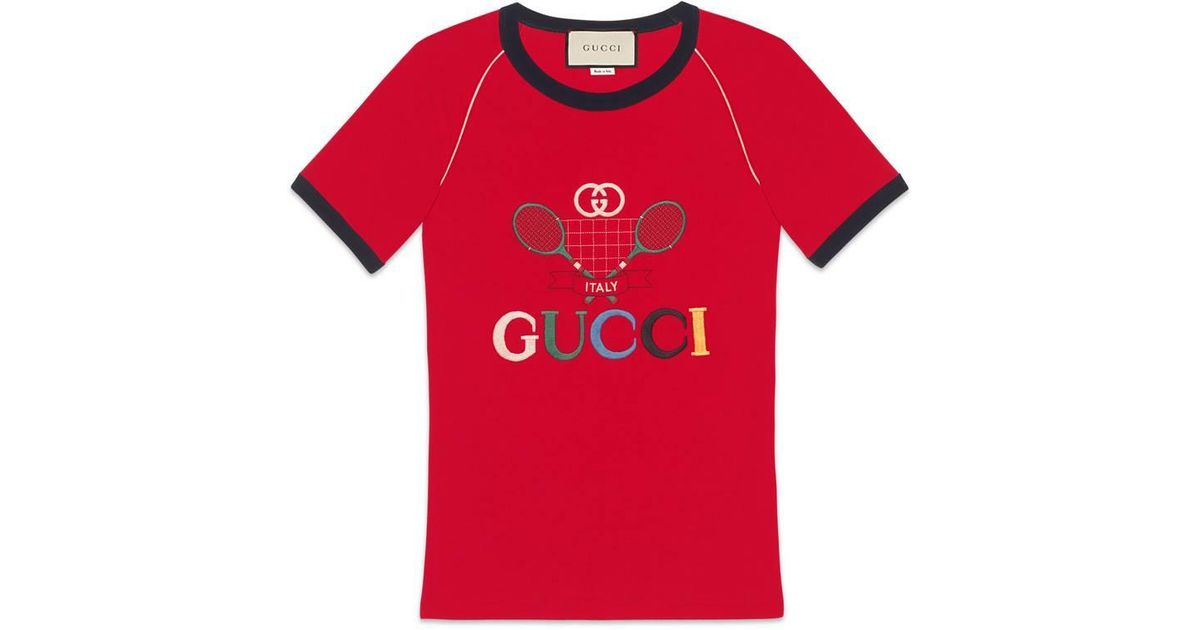 58eb5cbf Lyst - Gucci Ribbed T-shirt With Tennis in White