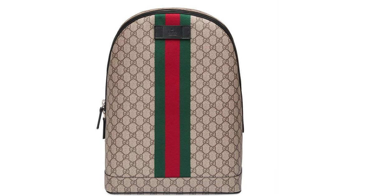 e0d1b58b0a91 Gucci Gg Supreme Backpack With Web in Natural - Lyst