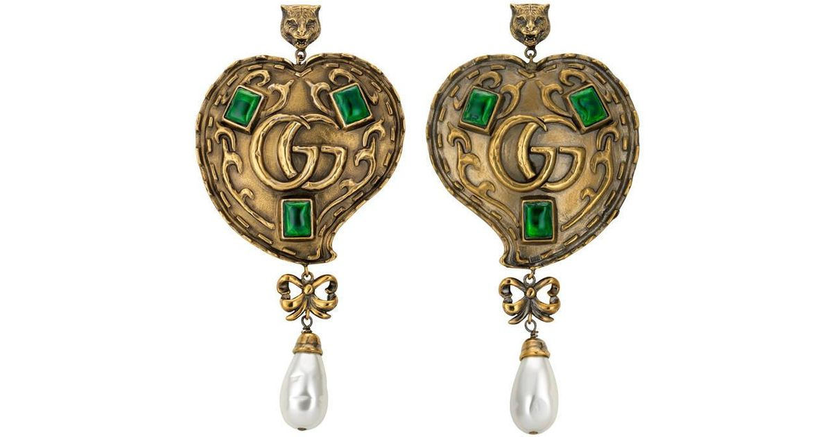 d78bee10ddb Lyst - Gucci Heart Earrings With Pearls in Metallic