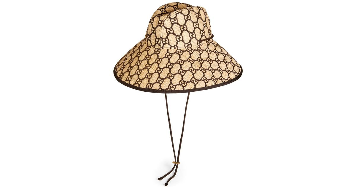 a7bcdf20c492d Gucci GG Supreme Raffia Bucket Hat in Brown - Save 48% - Lyst