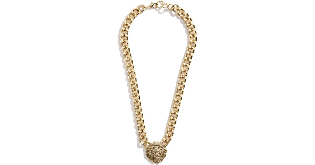 Lyst guess chain link lion pendant necklace in metallic aloadofball Choice Image