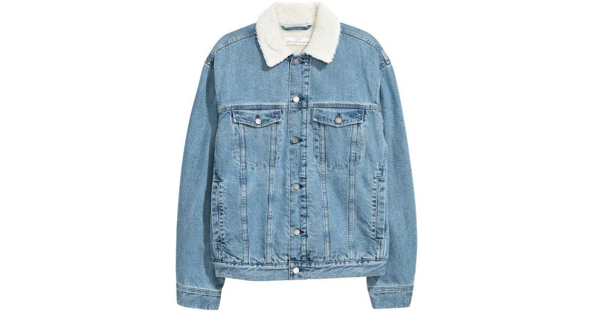 Lyst H Amp M Pile Lined Denim Jacket In Blue For Men