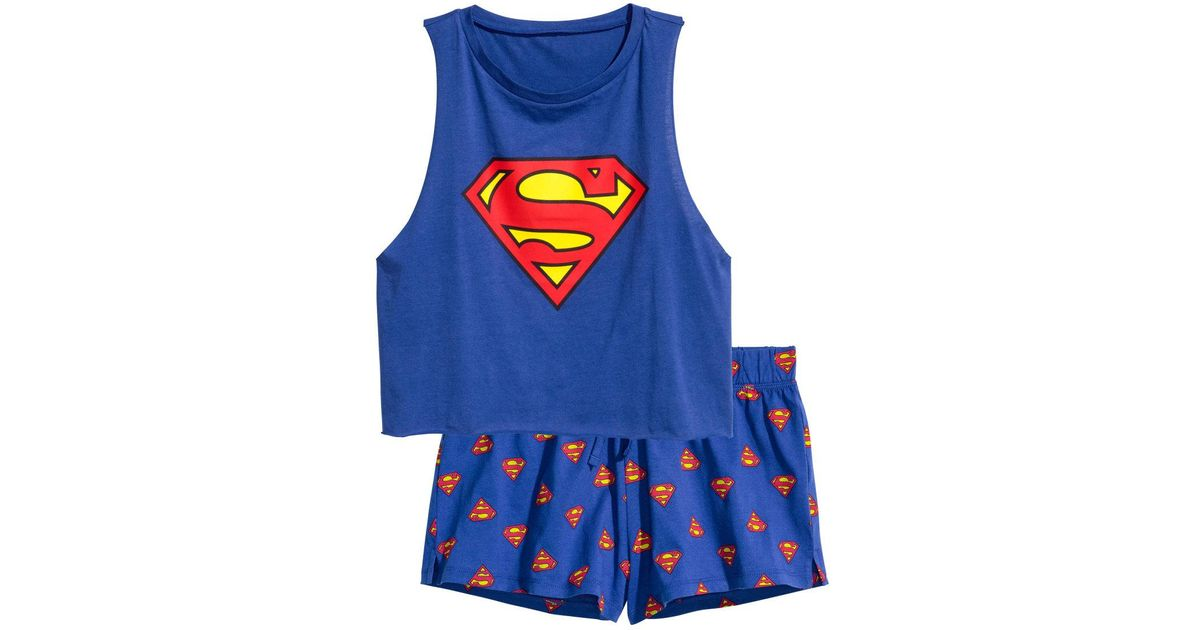 5369db335481e Lyst - H M Pyjamas With Top And Shorts in Blue