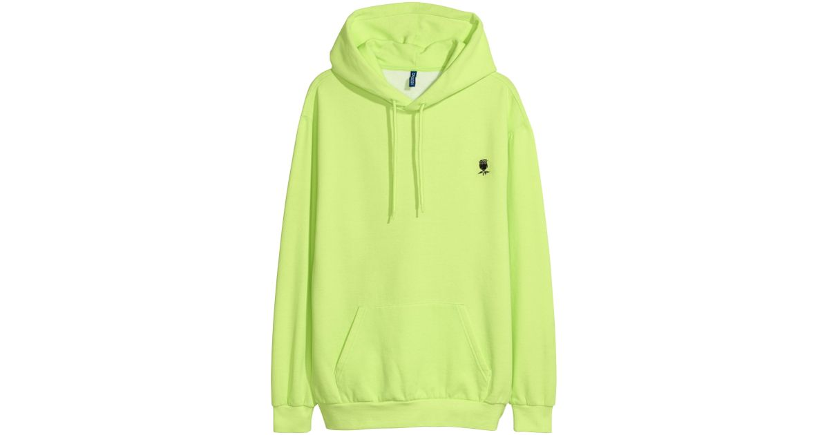 b3b4fc803 Lyst - H&M Hooded Sweatshirt With Motif in Green for Men