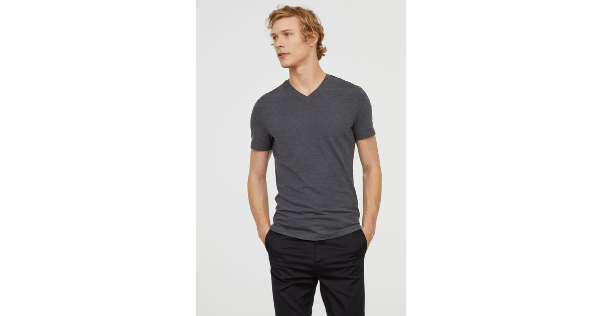 80b0dd201d1 H M V-neck T-shirt Slim Fit in Gray for Men - Lyst