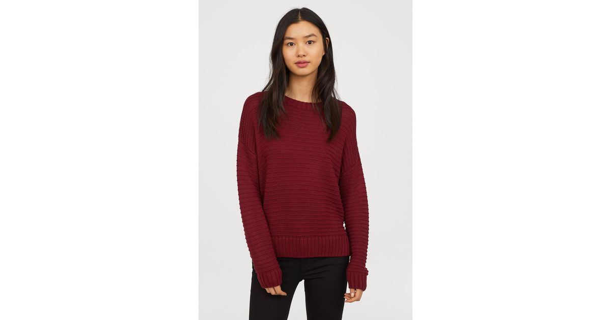 56175989e1 H M Textured-knit Sweater in Red - Lyst