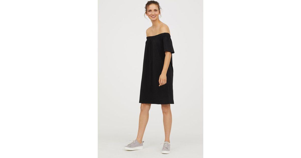 e88a43a69ed1 Lyst - H M Off-the-shoulder Cotton Dress in Black
