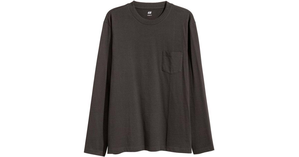 66c73247 Lyst - H&M Long-sleeved Top Loose Fit in Black