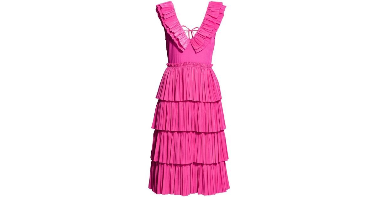 5f26a8a5af70 H&M Pleated Tiered Dress in Pink - Lyst