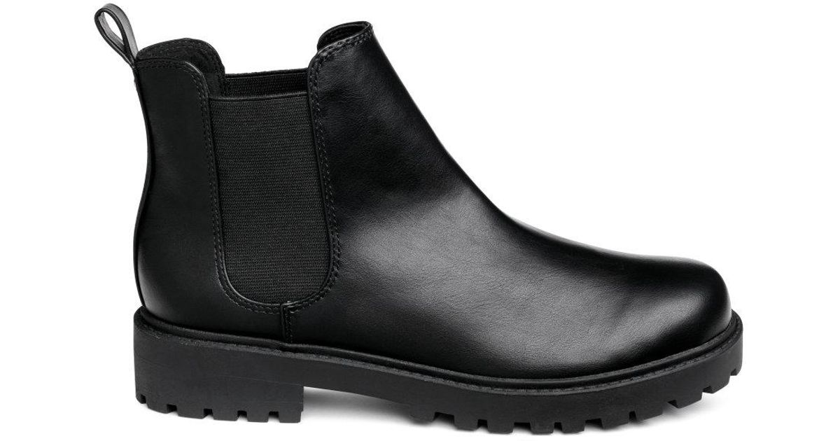 25f9417cf96c Lyst - H M Chunky-sole Chelsea Boots in Black