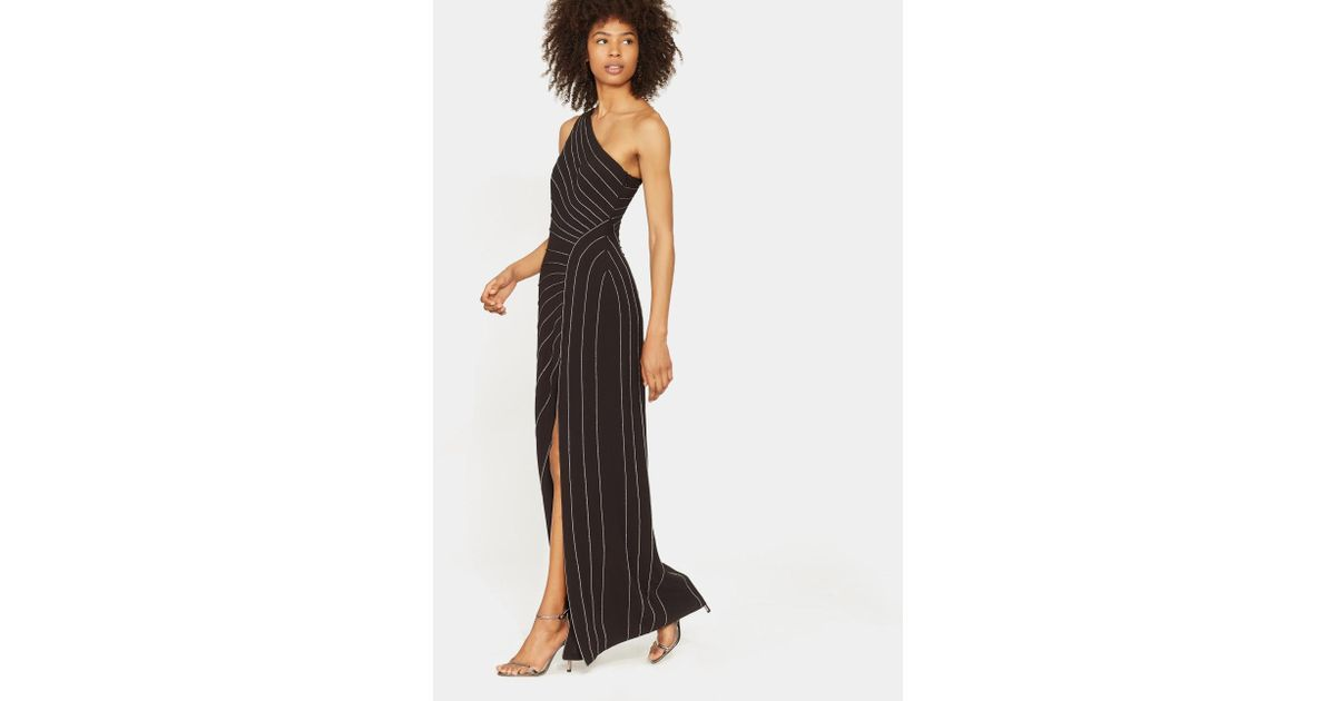 c124741244793 Halston One Shoulder Gown With Chain Piping in Black - Lyst