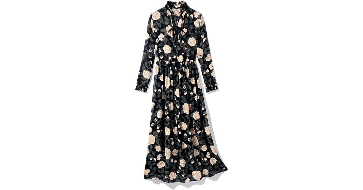 57fbd51f Ganni Woman Carlton Polka-dot Georgette Maxi Dress Black in Black - Save  50% - Lyst