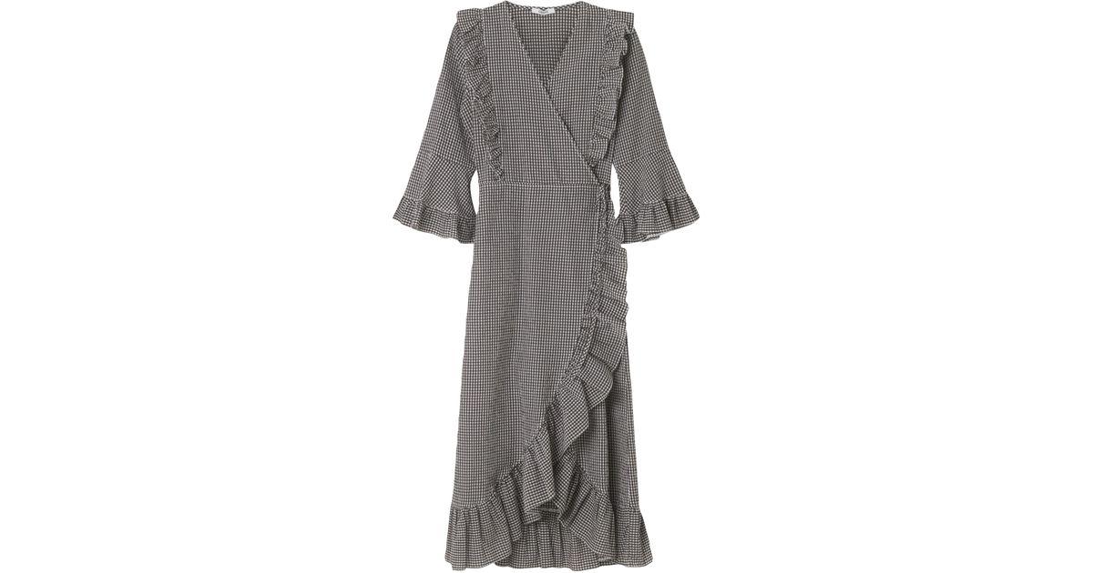 501f9209 Ganni Charron Wrap Dress In Ganache in Gray - Lyst