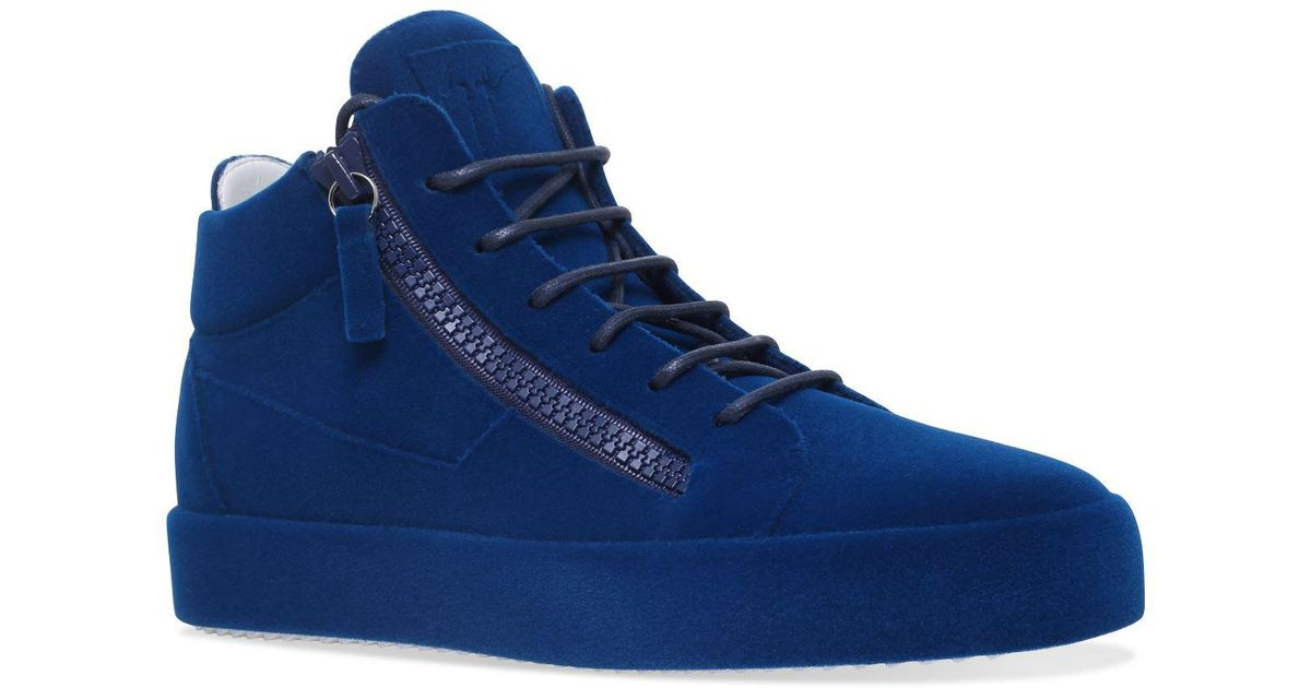 e25cafcdad7e7 Giuseppe Zanotti The Unfinished Mid Top Sneakers In Blue For Men Lyst
