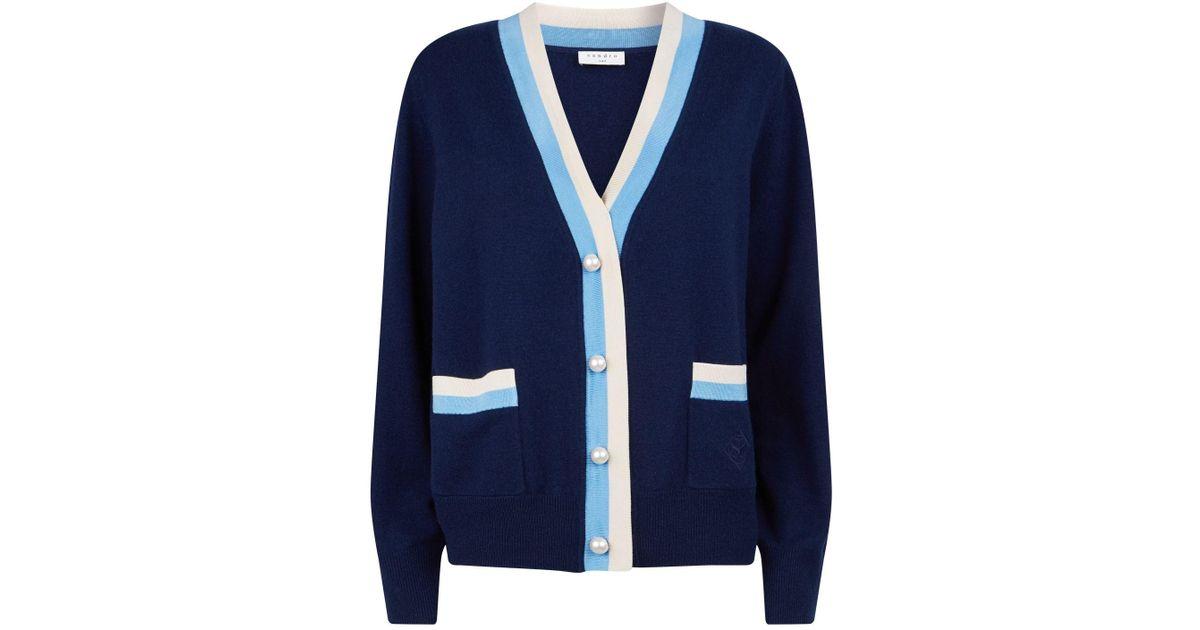 3edbea6083e Lyst - Sandro Striped Cardigan in Blue