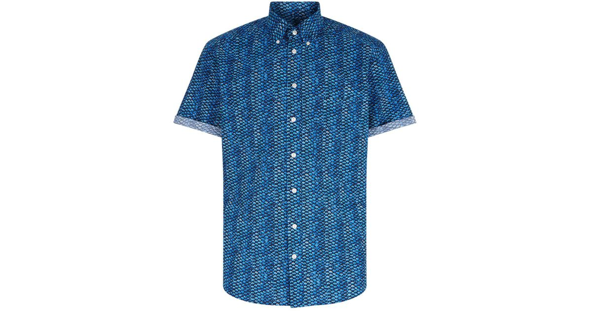 Lyst eton of sweden slim fit fish scale shirt in blue for Fish scale shirt