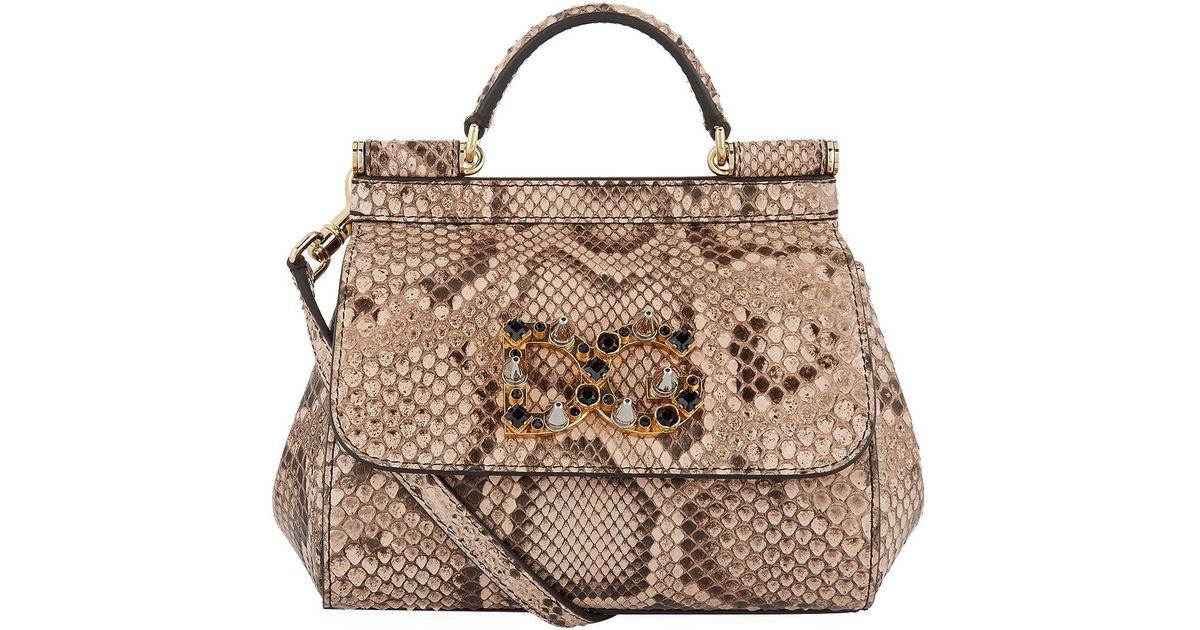 7a670557cc Lyst - Dolce   Gabbana Mini Sicily Python Bag