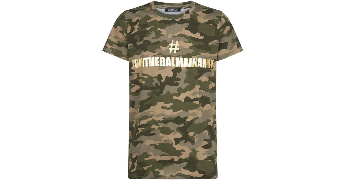 040248f4 Balmain Join The Army T-shirt in Green for Men - Lyst