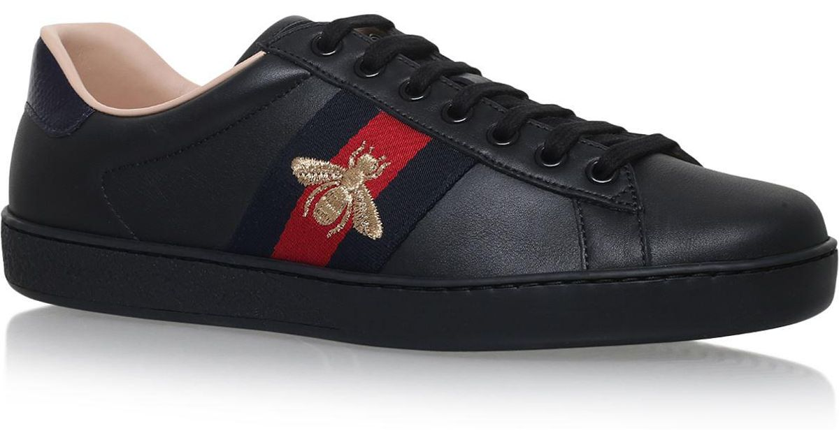 Gucci Ace Noir Chaussures De Sport En Cuir D'abeille OsAtdea