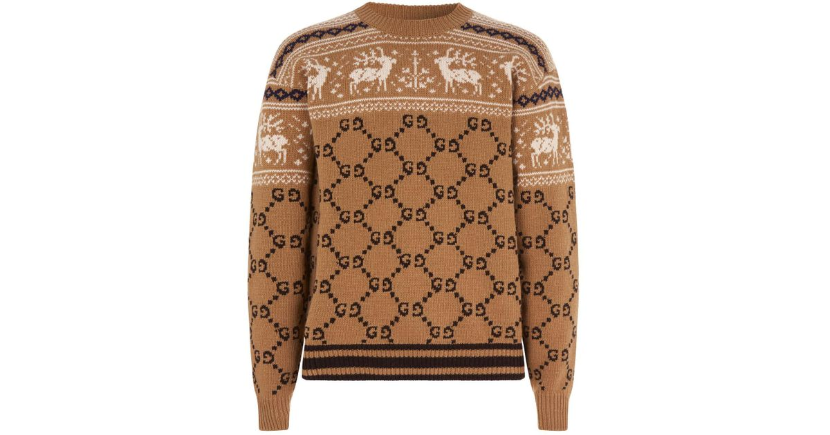 c958f5e7990 Lyst - Gucci Reindeer Gg Knit Sweater in Brown for Men