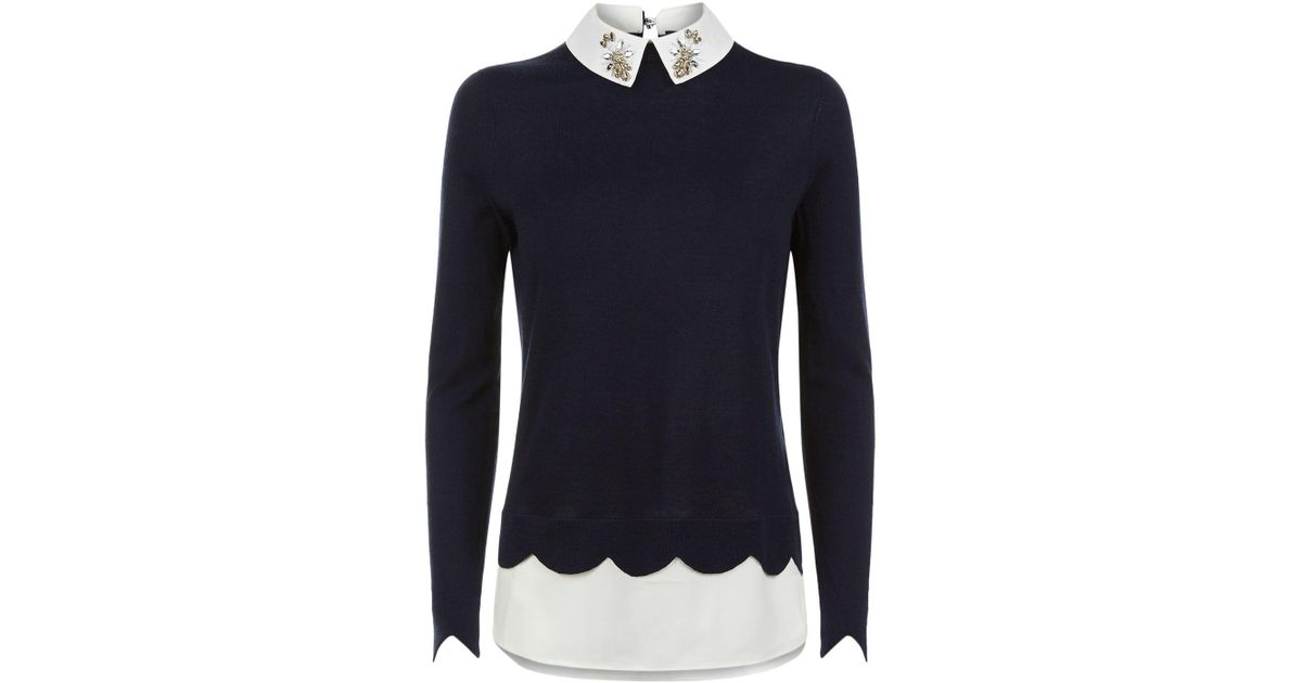 51816aa259b03 Lyst - Ted Baker Suzaine Embellished Collar Sweater in Blue