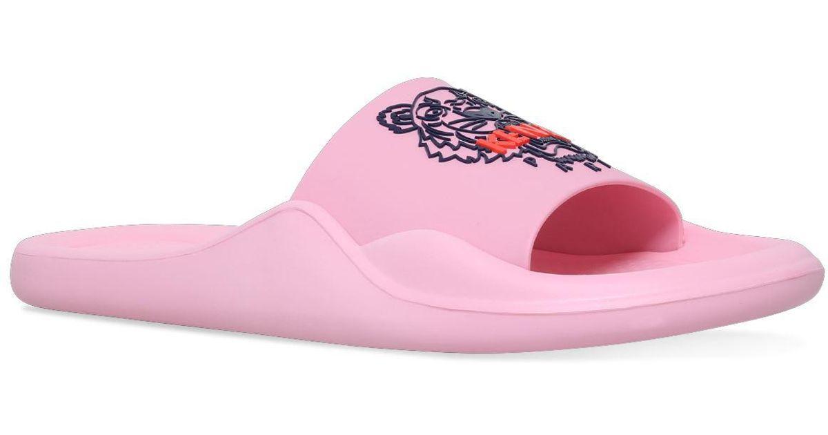 000f23982b0b KENZO Tiger Logo Slides in Pink - Lyst