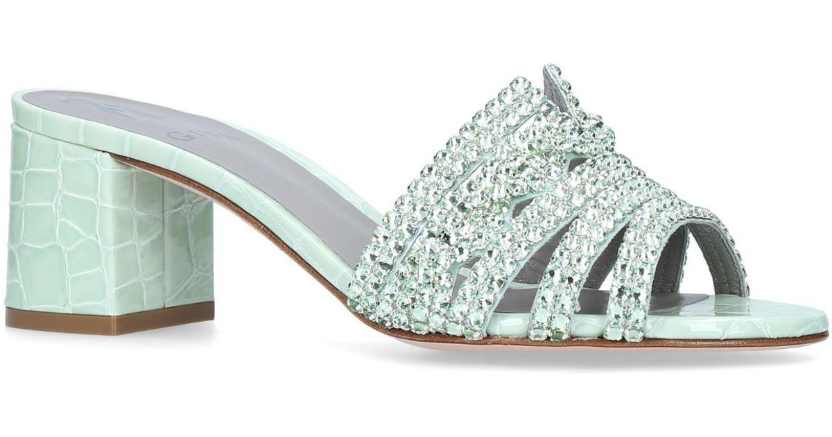 5d4b17c03d1 Gina Embellished Visage Mules 60 in Green - Lyst