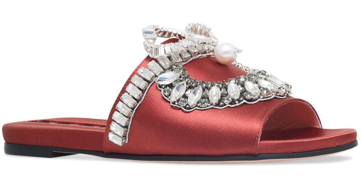 jewel embellished slides - Red Rochas zu8ztgaX