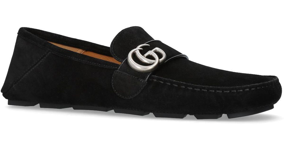cdf67730b03 Gucci Noel Suede Driving Loafers in Black for Men - Lyst
