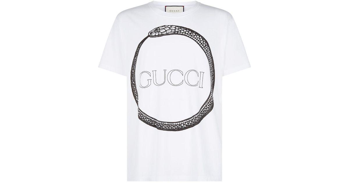 2fee9c8272 Lyst - Gucci Snake Ring T-shirt in White for Men