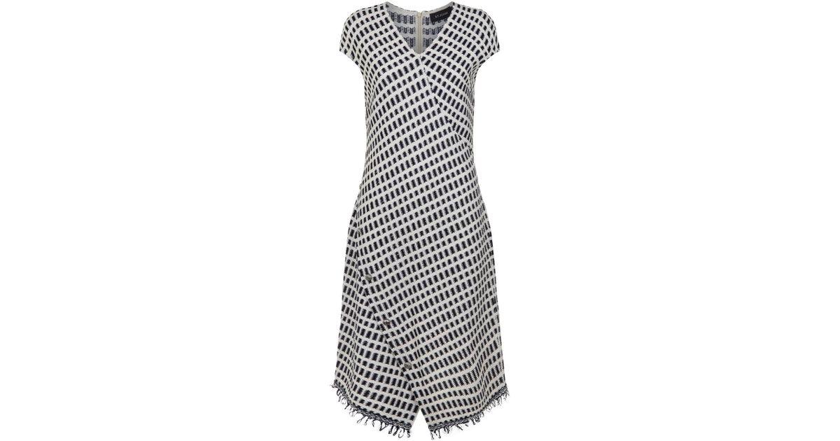 f144074b7e Lyst - St. John Grid Knit Dress in Natural