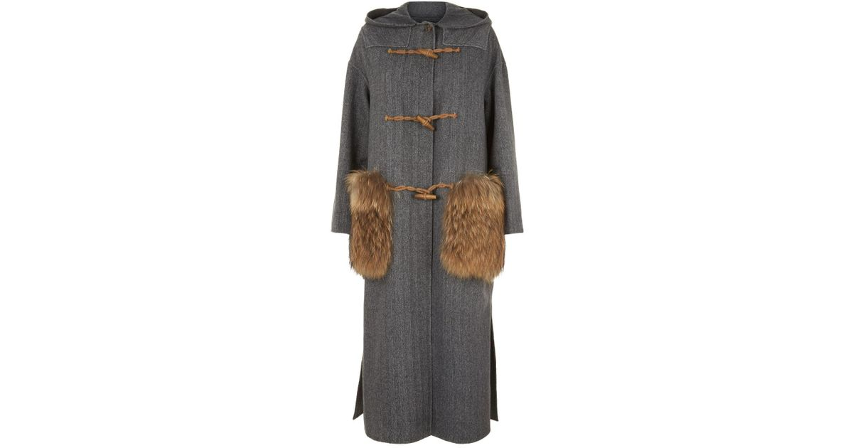 a4df1fe236b84 Weekend by Maxmara Fur Trim Wool Duffel Coat in Gray - Lyst