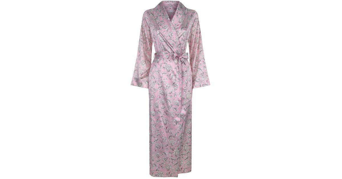 Yolke Pink Silk Dressing Gown Lyst