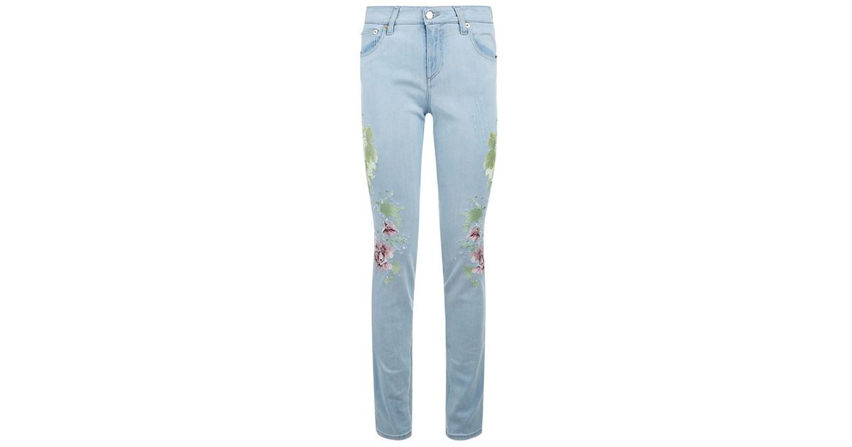 Roberto cavalli floral embroidered skinny jeans in blue lyst