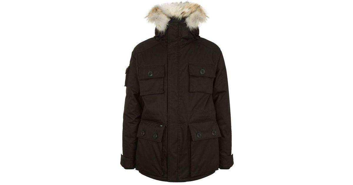 Nobis The Barry Fur Trimmed Parka Coat In Black For Men Lyst