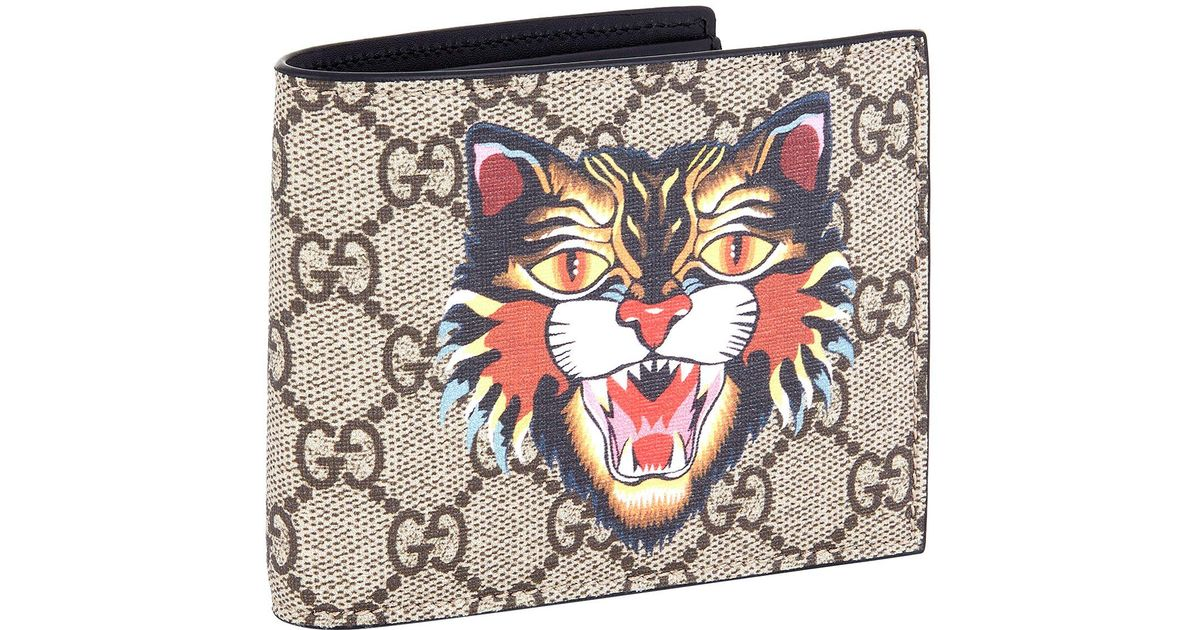 0714c06d39a0 Lyst - Gucci Angry Cat Bifold Wallet in Natural
