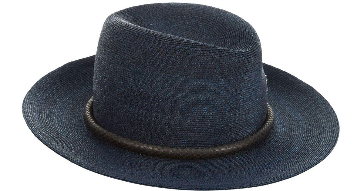 Philip Treacy Snakeskin Trim Trilby Hat in Blue for Men - Lyst 07a93fe07ae7
