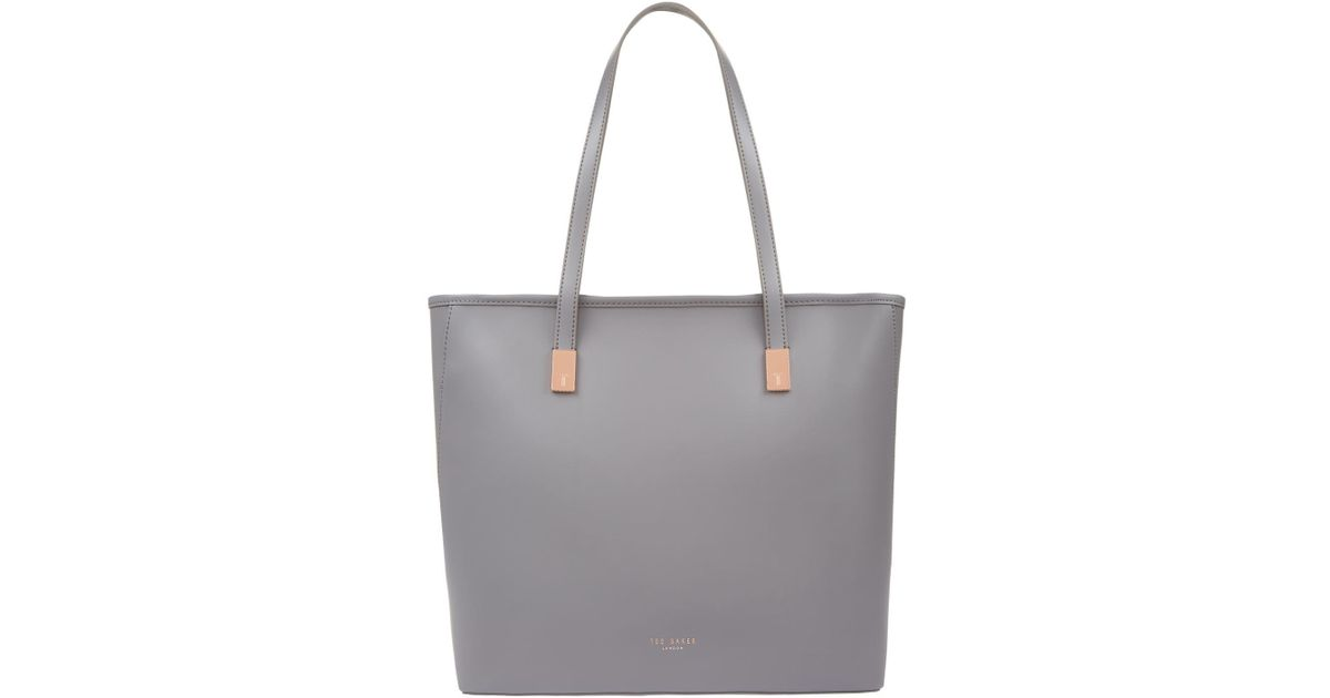 9b892eaf5 Ted Baker Chelsey Leather Shopper Bag in Gray - Lyst
