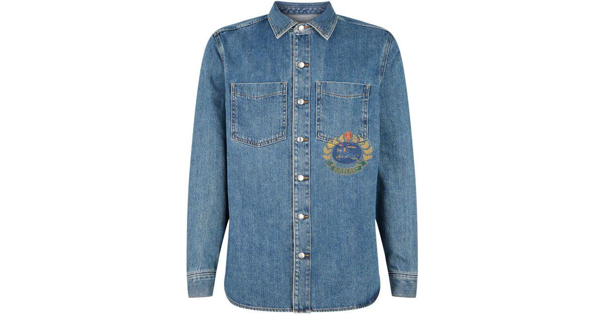 c227936531 Lyst - Burberry Crest Print Denim Shirt in Blue for Men