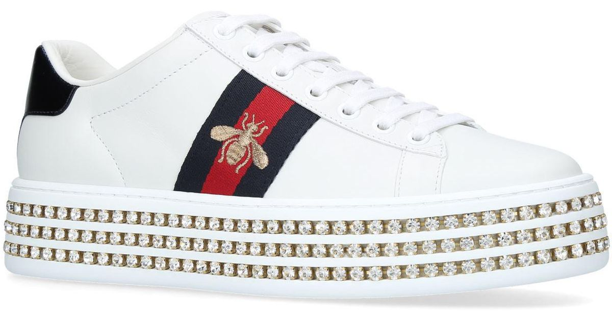 GucciSneaker low ACE calfskin Embroidery woven-details Logo IwVLO