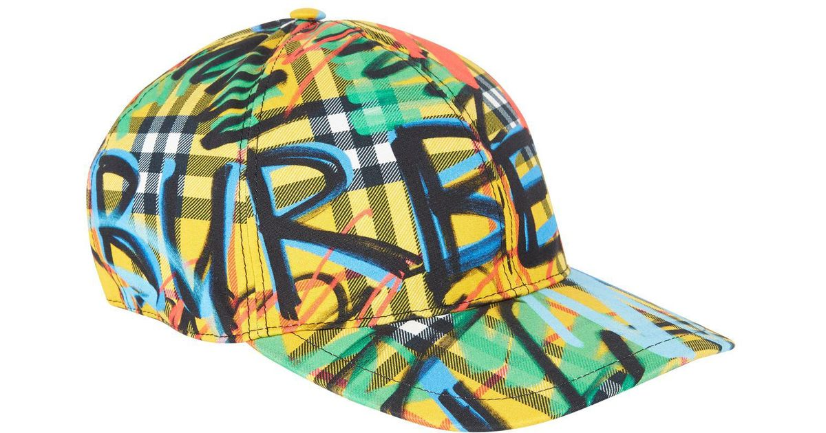 17f7536d82f60 Burberry Graffiti Scribble Check Baseball Cap in Yellow - Lyst